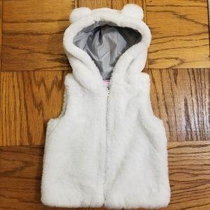 Girl's Gymboree 5T White Faux Fur Hoodie Vest